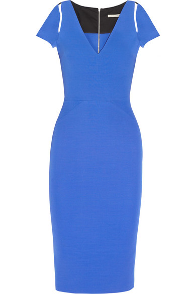 Victoria Beckham blue fitted cut-out midi dress