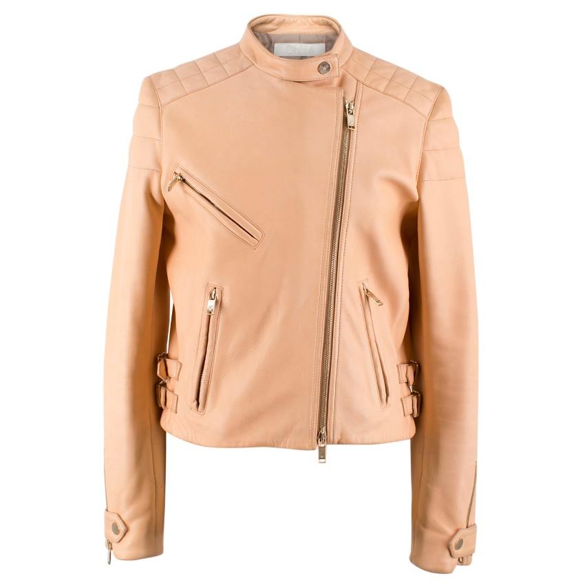 d4b5d73c81 Chloe Nude Leather Biker Jacket | HEWI London