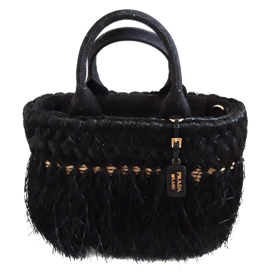 dernières conceptions diversifiées la meilleure attitude moins cher Prada Black Fringed Raffia Weave Basket Bag