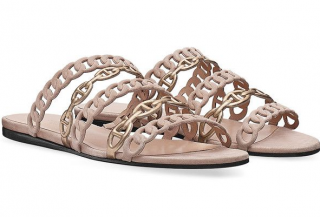 Hermes Nude Chaine D'ancre Suede & Leather Sandals