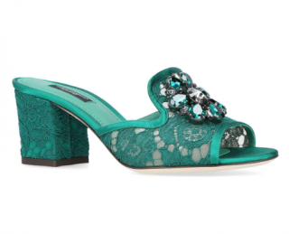 Dolce & Gabbana Green Lace Crystal Embellished Bianca Mules