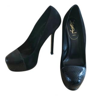 Yves Saint Laurent Tribtoo Cap Black Snake Pumps