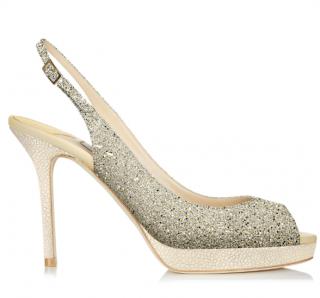 Jimmy Choo Glitter Fabric Champagne Nova Sandals