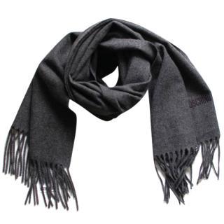 Moschino Anthracite Wool Shawl