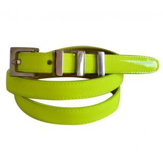Saint Laurent 3 passants neon yellow leather belt