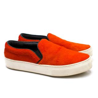 Celine Red Pony Hair Slip-on Trainers