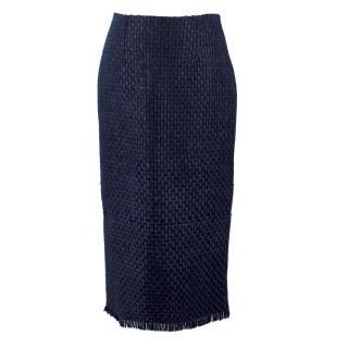 Roland Mouret Navy Woven Arreton Pencil Skirt