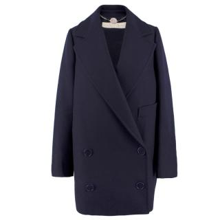 Stella McCartney Navy Wool Double Breasted Coat
