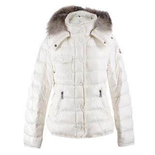 Moncler Ivory Fur-Trim Armoise Hooded Down Jacket - Current Season