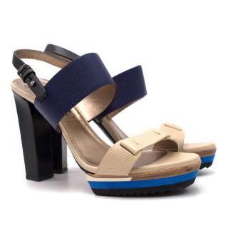 Lanvin Colour Block Slingback Sandals