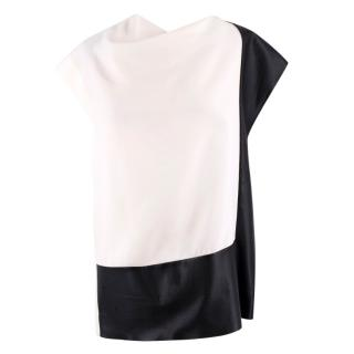 Celine Faux Leather Panelled White Cowl Neck Top