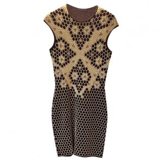 Alexander McQueen Honeycomb lace-print jersey-dress