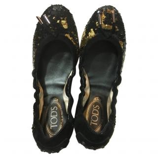 Tod's Black & Gold Sequin Ballet Flats
