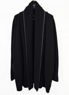 Vince yak wool & leather draped cardigan