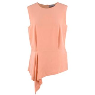 Mulberry Peach Silk Asymmetric Top
