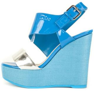 Dior Blue & Silver Patent Wedges