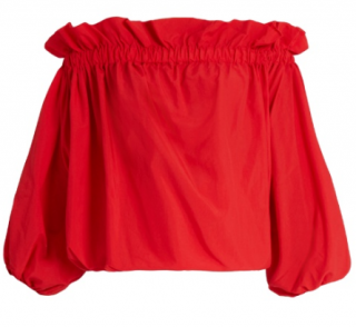 Marques Almeida Red Ruched Off-Shoulder Top