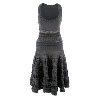 Alaia Grey Stretch Knit Dress