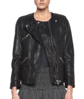 Isabel Marant Etoile Bradi Black Washed Leather Biker Jacket