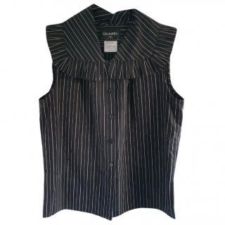 Chanel stripe ruffle top