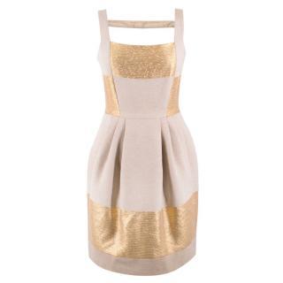 Amanda Wakeley Gold and Beige Dress