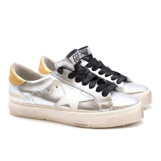 Golden Goose Deluxe Brand Metallic Silver Star Sneakers
