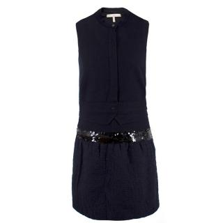 Victoria Victoria Beckham Navy Wool Dress
