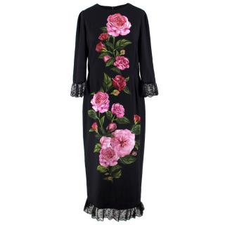 Dolce and Gabbana Rose Printed Lace Detail Midi Dress