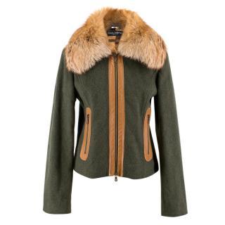 Dolce & Gabbana Green Jacket with Raccoon Fur Collar
