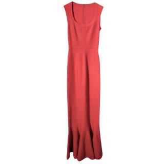 Alaia Long Red Knit Mermaid Hem Gown