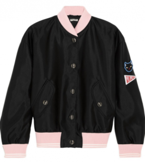 Miu Miu cat applique bomber jacket