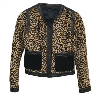 Burberry Prorsum Leopard Print Pony Hair Jacket