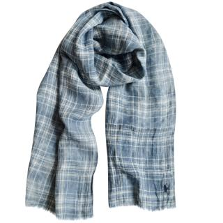 Ralph Lauren Polo blue check linen scarf