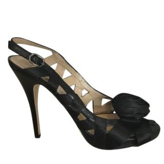 Valentino black satin sandals