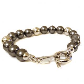 Orphelia Grey Pearl & Silver Ball Bracelet