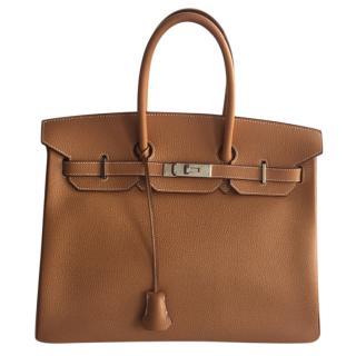 Hermes Light Tan Vache Liegee 35cm Birkin Bag