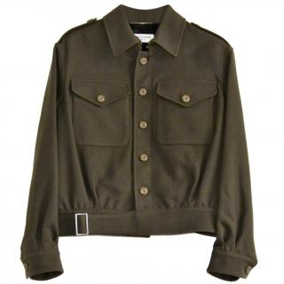 Saint Laurent runway wool blend khaki aviator jacket