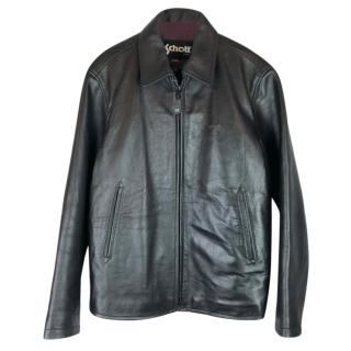 Schott NYC Dark Brown Leather Biker Jacket