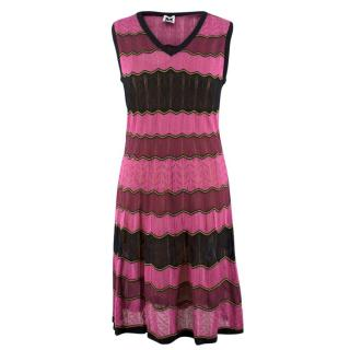 M Missoni Pink Striped Knit Dress