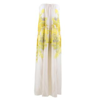Tibi White Column Printed Gown