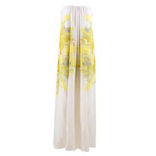 Tibi White Column Strapless Dress