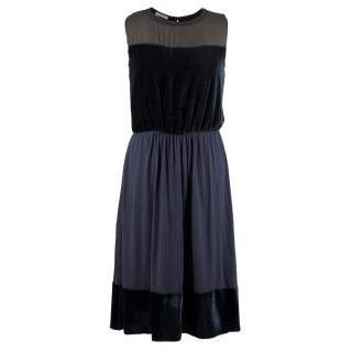 Tomas Maier Blue Velvet Chiffon Dress