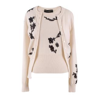 Dolce & Gabbana Cream Cashmere & Lace Twin Set