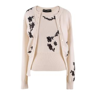 Dolce & Gabbana Cream Cashmere & Lace Twin Set