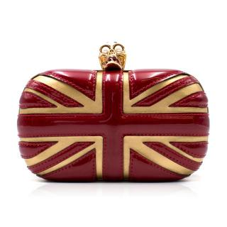 Alexander Mcqueen Red and Gold Union Jack Skull Clutch