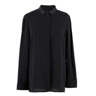 Victoria Beckham Black Faux Leather Collar Blouse