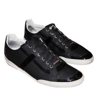 Christian Dior Black Patent Piped Sneakers