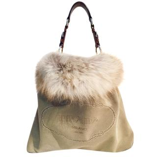 Prada Fox Fur Shopping Tote