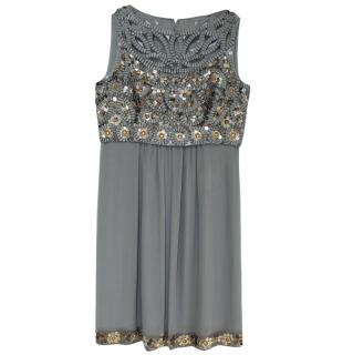Ann Louise Roswald Charcoal Embellished Tunic Dress
