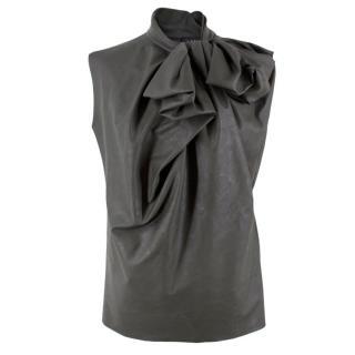 Lanvin Khaki Ruched Faux Leather Top